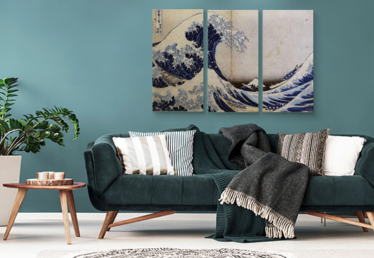 living room canvas collage decor idea