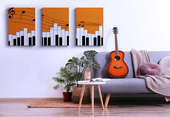 living room wall decor idea with split canvas