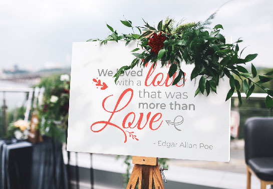 love quote wedding signboard idea with flower detail