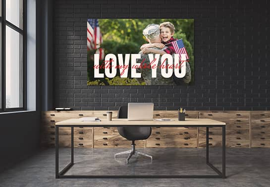photo wall art gift idea for veterans displaying the words Love You
