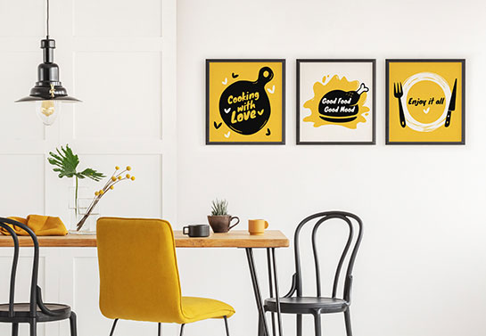 mini kitchen canvas idea in yellow, black and white color scheme with kitchen quotes