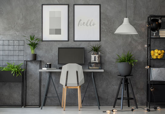 home office in monochromatic grey color scheme