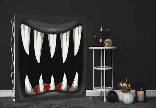 black Halloween backdrop displaying a monster mouth