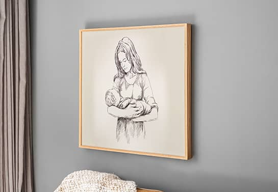 Mother's day drawing sign idea displaying an image of a mother holding her child