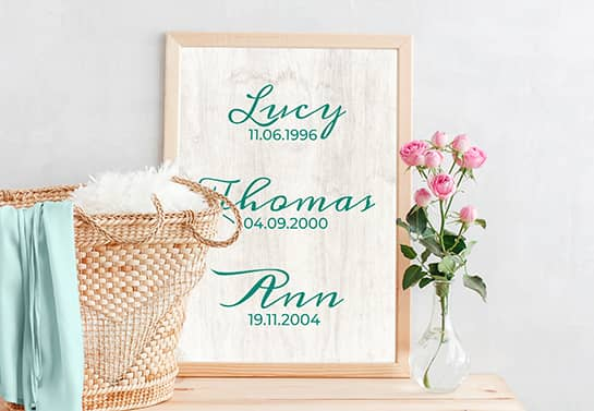 Mother's day plaque idea displaying child birth dates