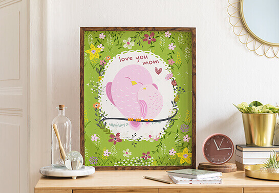 Mother's day drawing woodwork idea displaying cute birds and floral prints