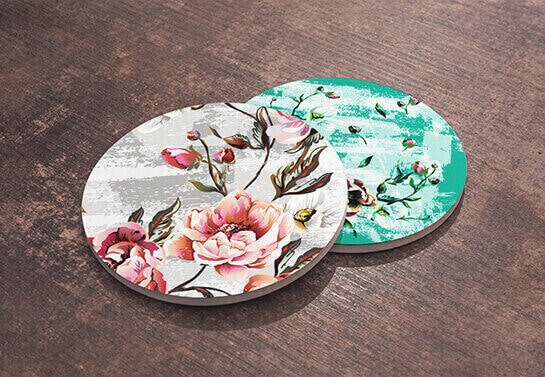 Mother's day wooden coasters with floral prints