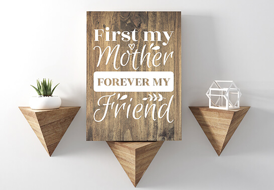 Decorative mother's day woodworking idea with a handwriting