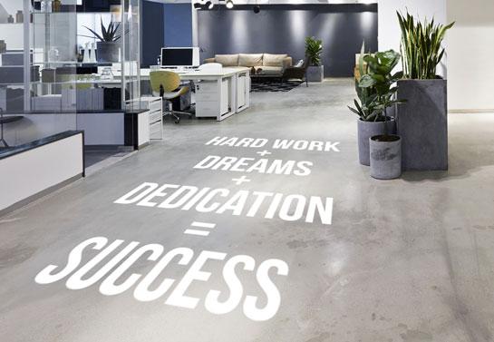 motivational floor sticker idea