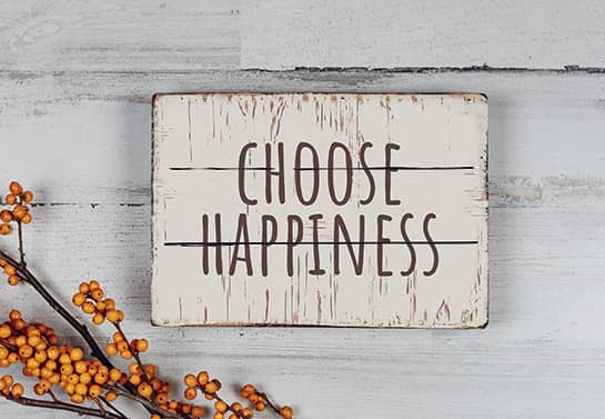 motivational wood sign idea with the quote Choose Happiness for inspiration