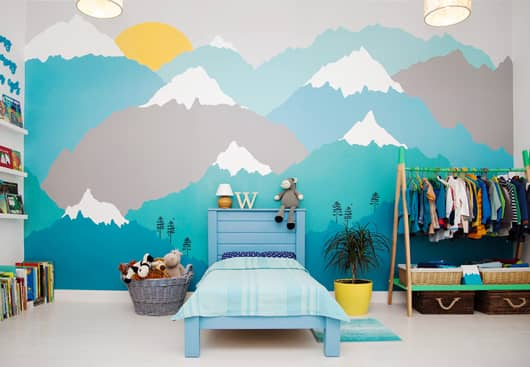 kids room wall idea with big colorful mountain graphics