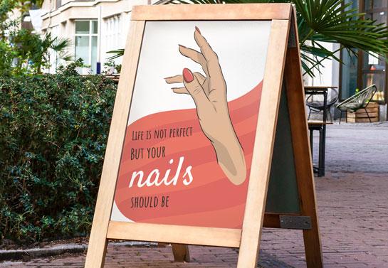 witty nail salon sidewalk board idea