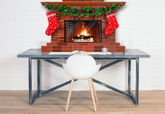 office computer screen decoration idea with fireplace