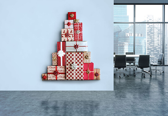 office wall christmas decorating idea with gifts