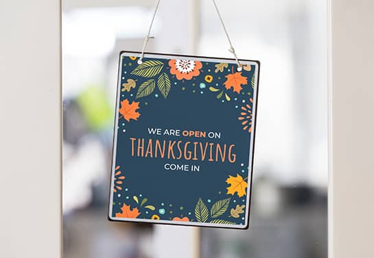 hanging open for Thanksgiving sign with autumn themed icons
