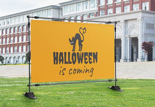 custom Halloween banner design in yellow with a black cat symbol