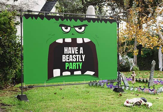 large outdoor Halloween party sign in green