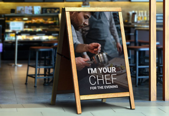 outdoor restaurant sandwich board idea with the Chef image and quote