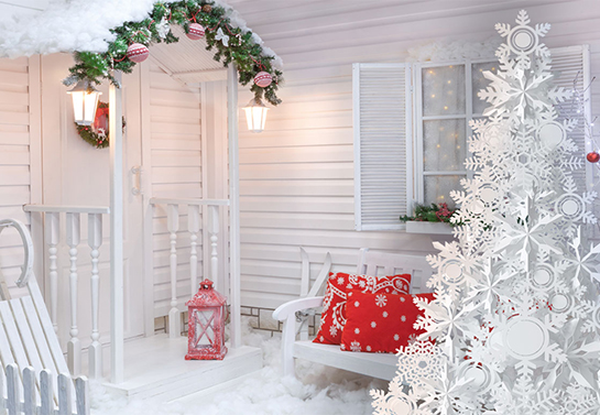 outdoor white christmas tree with artificial snow