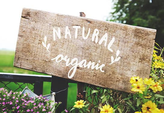 outdoor wood sign idea in rustic style with the words Natural and Organic