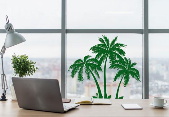 summer themed palm tree office window decor