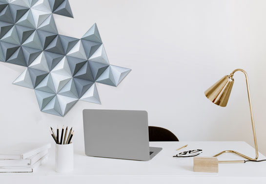 paper pyramids eclectic home office decor idea