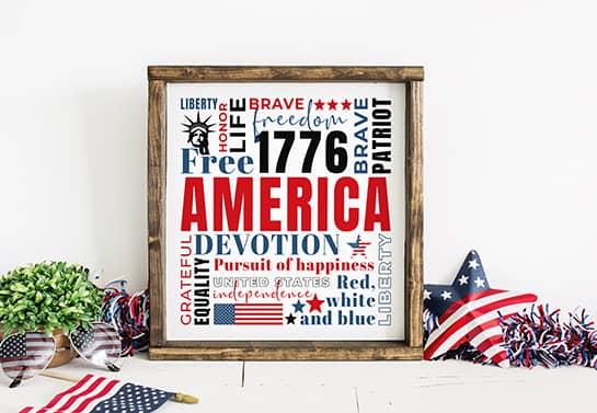 patriotic home decor idea displaying different USA symbols and phrases