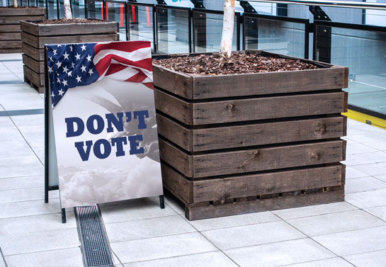 Don't Vote persuasive political sign example
