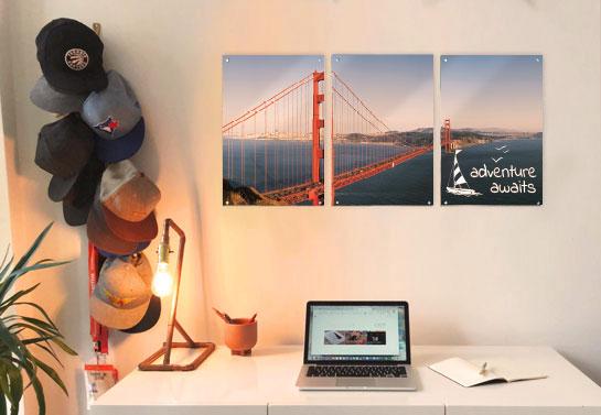 photography print home office wall art on an acrylic sign