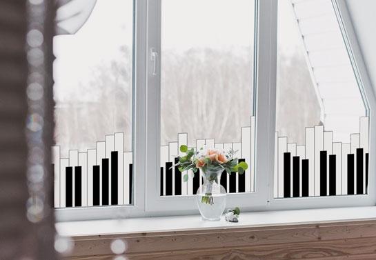 piano tiles print home window decor idea