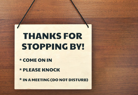 please knock Plywood sign