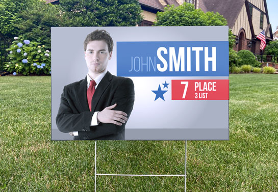 John Smith 7th Place candidate political sign example