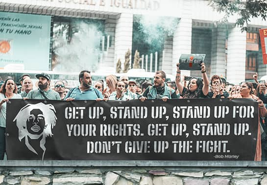 Protest banner idea with a quote from Bob Marley