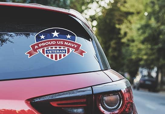 proud veteran car decal displayed on the rear window