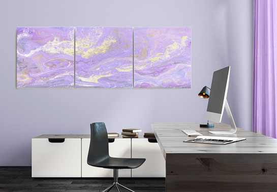 purple home office decor