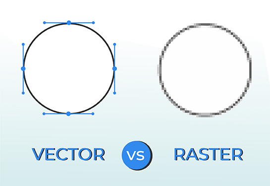 graph showing the difference between raster and vector images