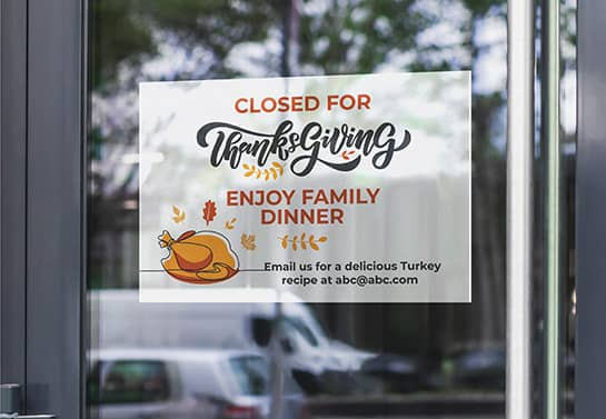 restaurant closed for Thanksgiving sign fixed to the door