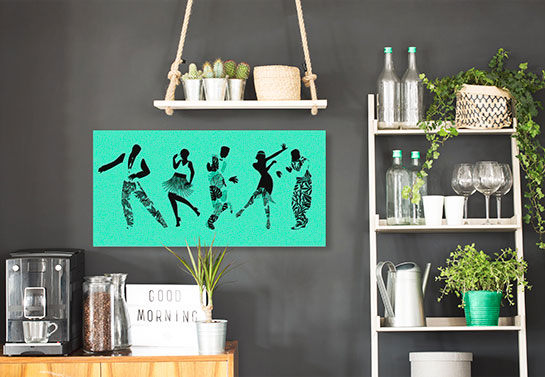 retro style canvas print idea with African traditional dancers in electric blue color