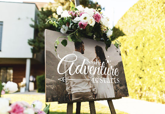 romantic wedding sign idea with couple photo print