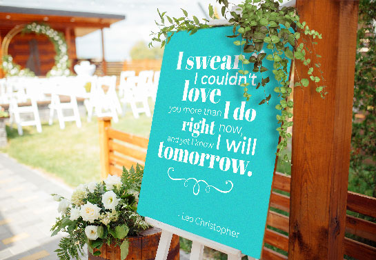 romantic wedding signboard idea in light blue color
