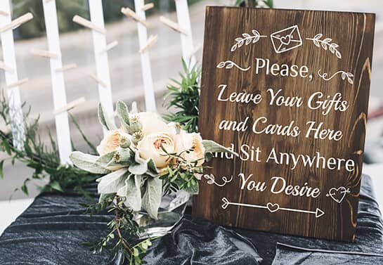rustic wedding gift table sign idea with cute elements