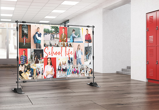 school banner idea displaying a photo collage of school life