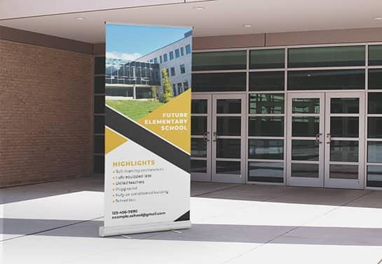 school advertising banner idea for entrance display