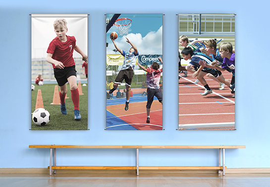 three sports-themed school banner samples