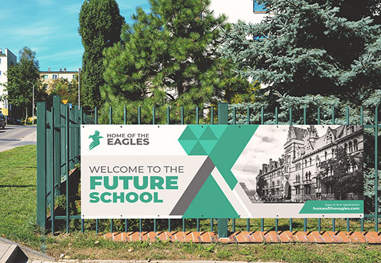school branding banner idea displaying the college's name and logo