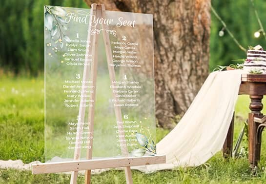 outdoor wedding sign idea displaying a seating chart with floral elements