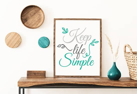 wood sign idea with a simple design pattern and the phrase Keel Life Simple