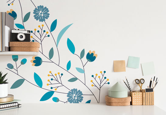 small home office floral wall decor idea
