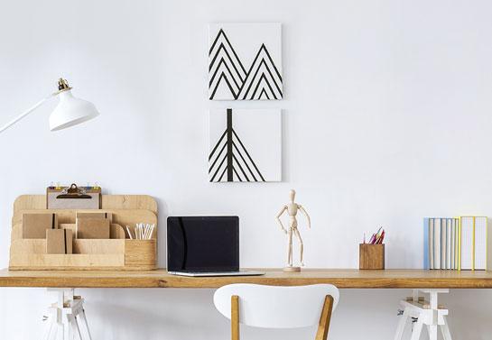 black and white small home office mini canvas prints decor idea