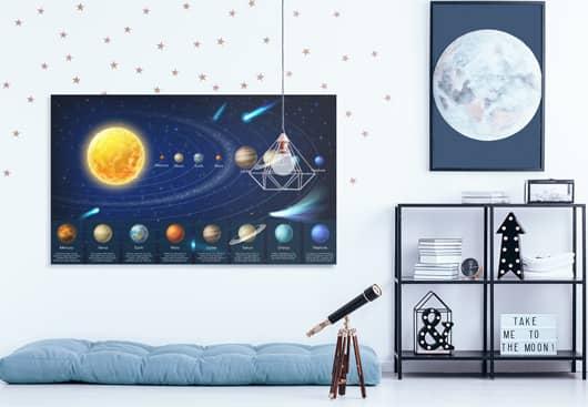 solar system kids wall decor idea displayed on canvas